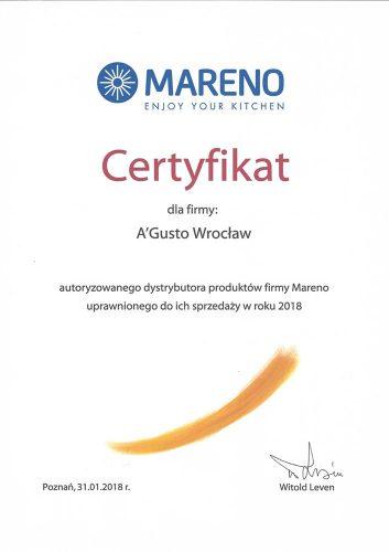 O firmie certyfikat mareno 2018 353x500