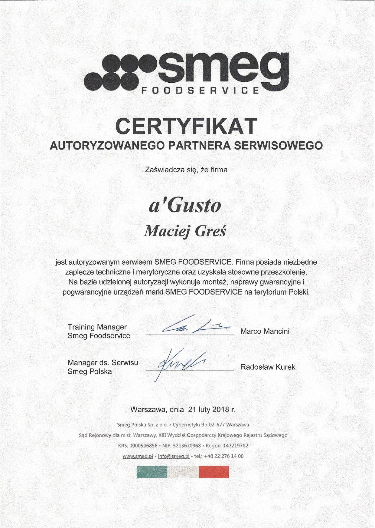 O firmie certyfikat smeg agusto 1240x1744